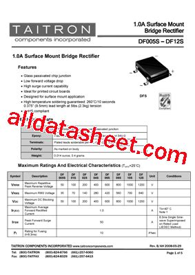 diodes inc df06s df005s datasheet pdf taitron components incorporated