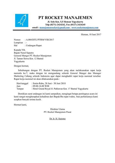 contoh surat undangan acara rapat perusahaan