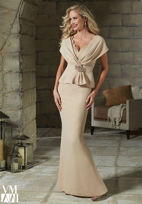 Mock Two Fit Top mori vm 71203 dress crepe peplum wrap fit and flare
