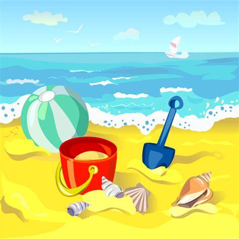 cartoon vacation wallpaper summer beach travel backgrounds vector 02 vector