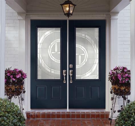 Blue Exterior Doors Massonite Doors Masonite Glass Craftsman Insulating 1 Lite Left Inswing Peppercorn