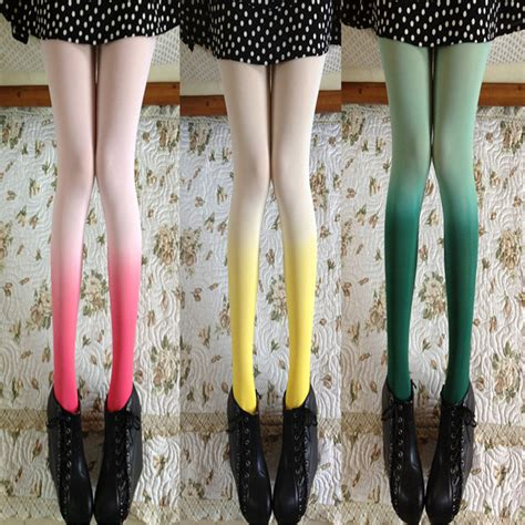 cute stockings retro stockings pantyhose gradient color leggings tights