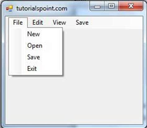 tutorialspoint go pdf vb net menustrip control