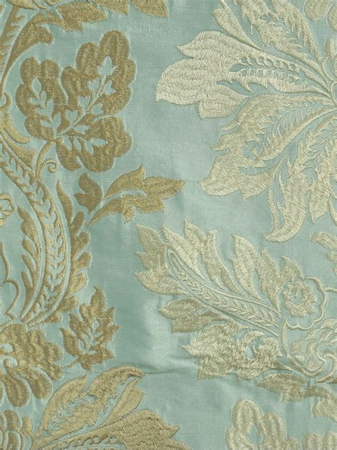 Gold Curtain Tassels Halo Embroidered Vase Damask Fabric Sample