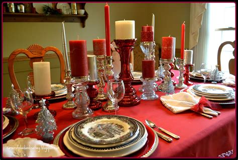 black and red christmas tablescapes corner of plaid and paisley tablescape and silver