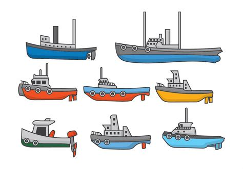 tugboat vector tugboat set download free vector art stock graphics