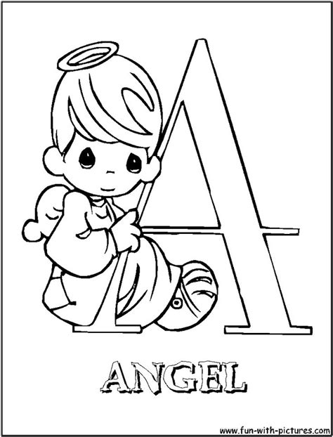 A For Angel Precious Moments Alphabet Coloring Pages Precious Moments Alphabet Coloring Pages