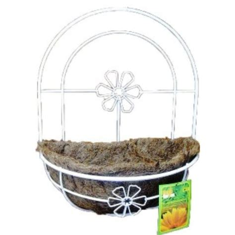 kymmico 12 in white metal wall planter basket 08016 the
