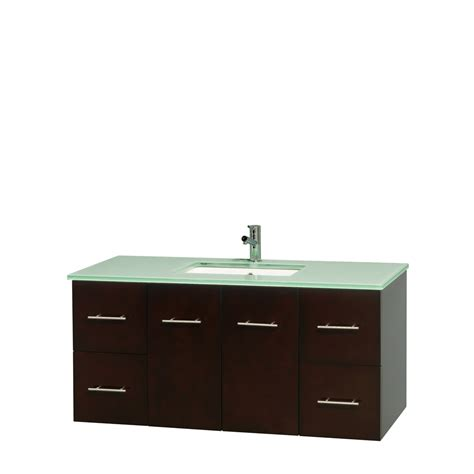 Green Glass Vanity by Wyndham Collection Wcvw00948sesggunsmxx Centra 48 Inch