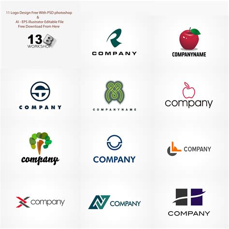 Set Of 11 Free Logo Design Templates Age Themes Logo Design Templates