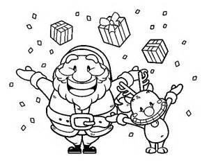 dibujo de santa y reno con regalos para colorear dibujos net