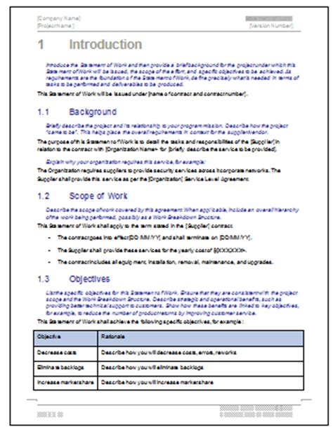 statement of work ms word excel template