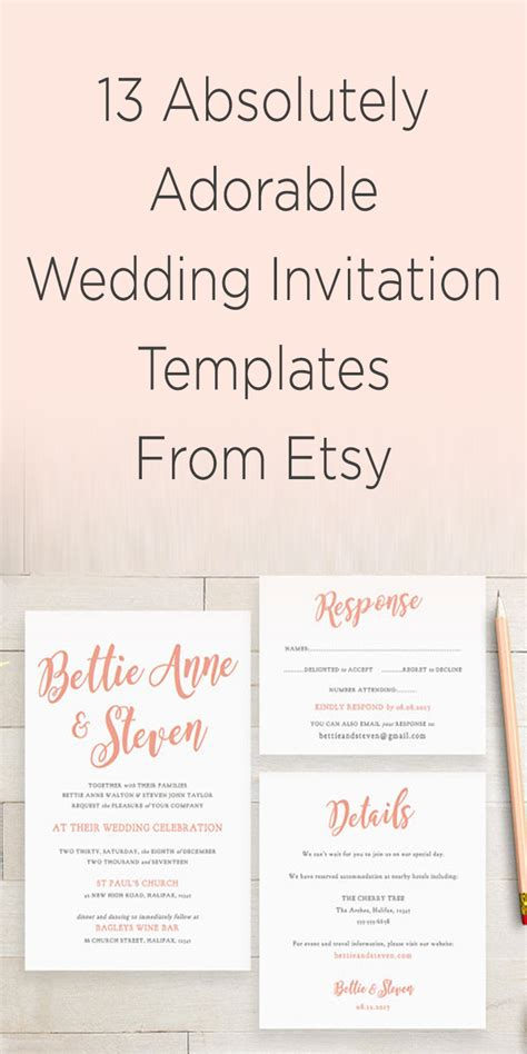 etsy wedding invitation template wedding invitation template vintage free wedding