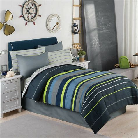 Blue And Green Boys Bedroom by Gray Blue Green Boys Stripe Comforter Set