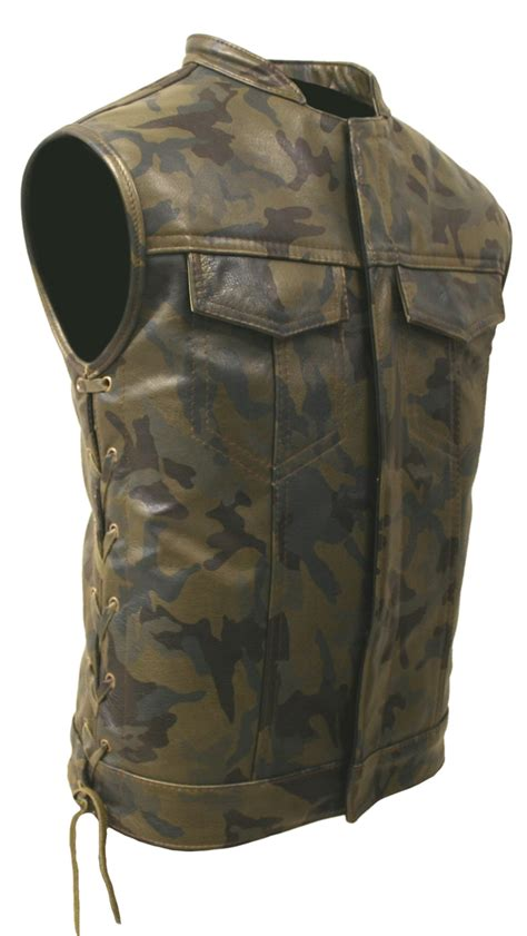 biker vest hillside usa all leather camouflage biker vest