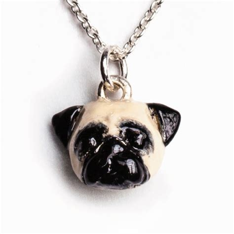 pug fever fever silver and enamel pug pendant necklace