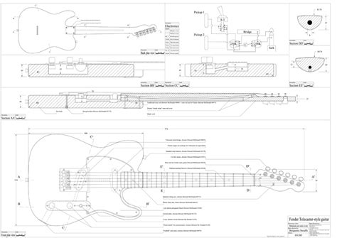 strat neck template guitarren tele blueprint
