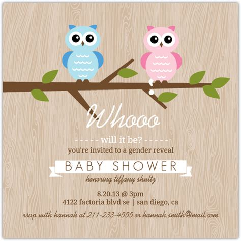 Baby Shower Gender Reveal Invitations by Gender Reveal Owl Baby Shower Invitation Gender Reveal