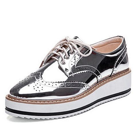 womens silver oxford shoes new oxfords lace up striped platform shoes metallic