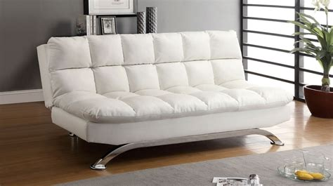 White Sofa Bed Leather White Leather Futon Sofa Bed Comfy Pillow Top