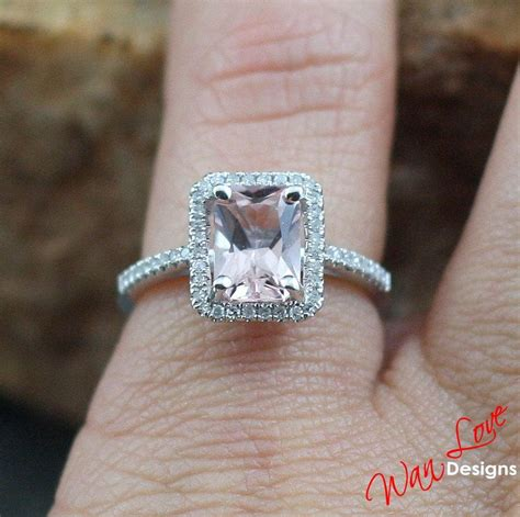 Green Saphire 14 2ct light pale pink sapphire emerald halo engagement