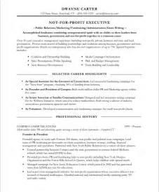 non profit marketer free resume sles blue sky resumes