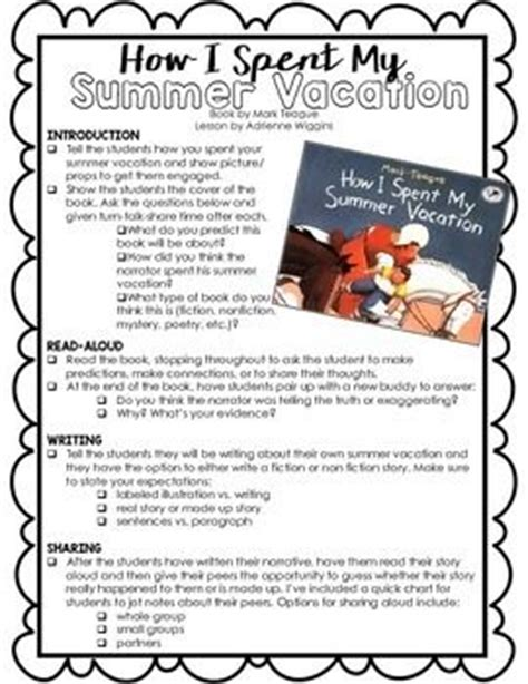 How I Spent My Holidays School Essay by Activities Summer And Lesson Plans On