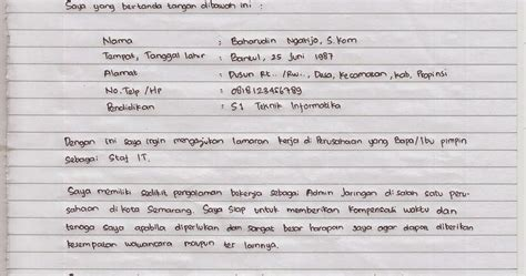 contoh surat lamaran kerja yang ditulis tangan wisata dan info sumbar