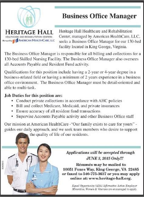 Business Office Manager Description by Details Business Office Manager At American Healthcare