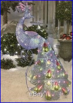 led lighted peacock outdoor christmas decoration new gemmy lightshow 4 3 decor led lights sparkle snowflakes peacock decor