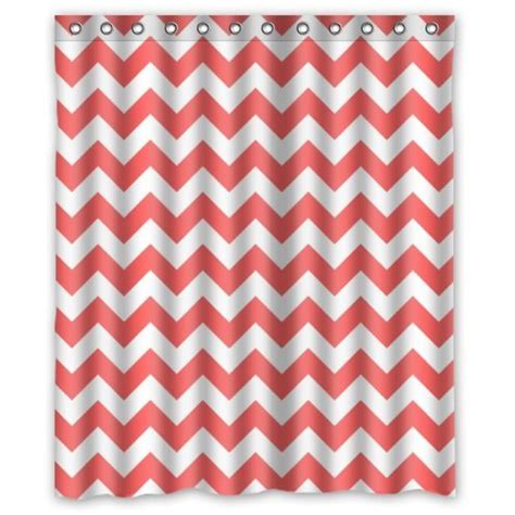 Coral And White Curtains Special Coral And White Chevroncustom Shower Curtain Waterproof Bathroom Shower Curtain 36 W X72