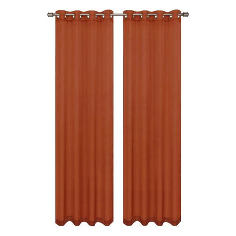rust colored sheer curtains window elements sheer elegance 84 in l grommet curtain