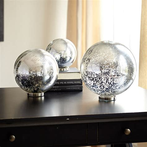 3 mercury glass ball lights set decorative accessories lighting mercury glass gazing balls traditional home decor by