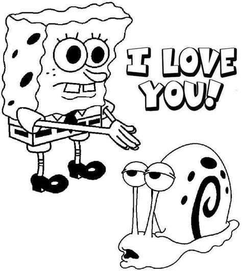 free spongebob valentines coloring pages