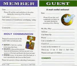 Church Welcome Card Template by Church Attendance Cards Church Press Inc