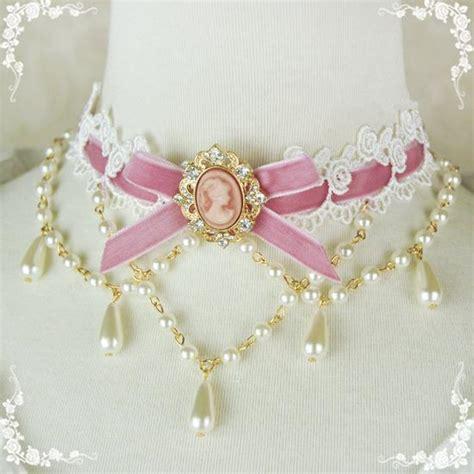 Kn69842 Kalung Choker Flying Pearl Pink kawaii shape steel leather choker himifashion