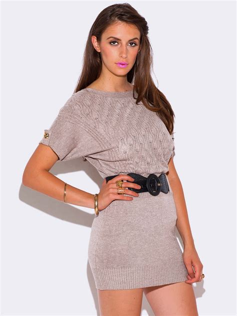 Sweater Dresses by Beige Cable Knit Dolman Sleeve Sweater Dress