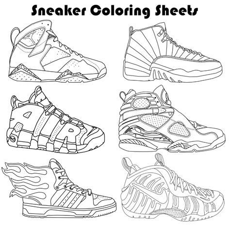 the sneaker coloring book sneaker coloring pages by paulbova on etsy
