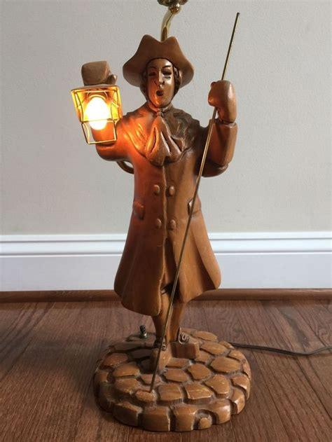 vintage paul revere lamp wood carved wooden light patriot