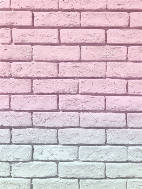 toned pink  mint pastel brick wall pretty