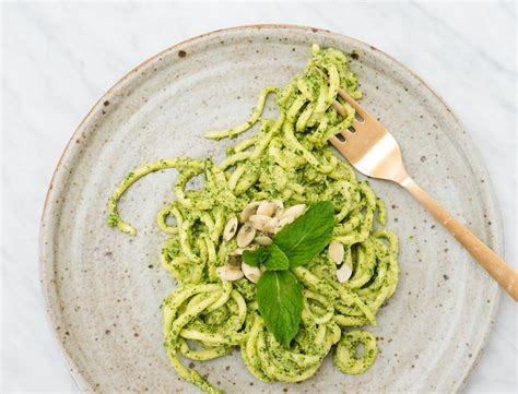 Goop Detox Recipes by Spiralized Zucchini Noodles With Mint Parsley Pepita Pesto