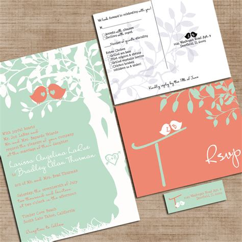 mint green and pink wedding invitations mint green and coral wedding invitations custom birdies on amazing greenery botanical