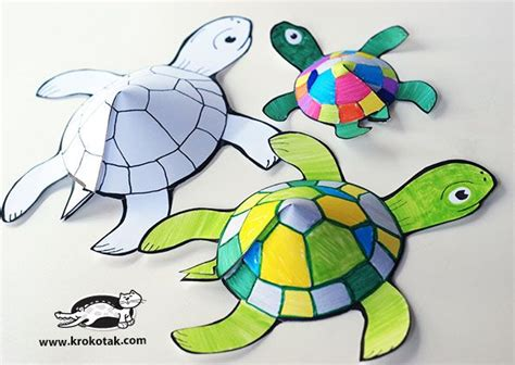 Paper Turtle Craft - glueless printable turtle make these soon diy crafts