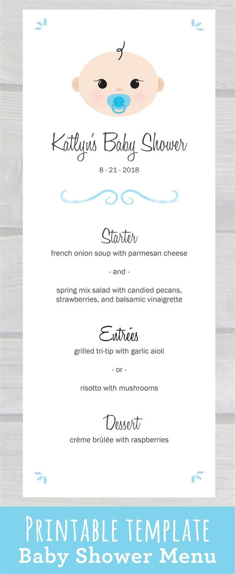 baby shower menu template free use this baby shower menu template pdf to edit