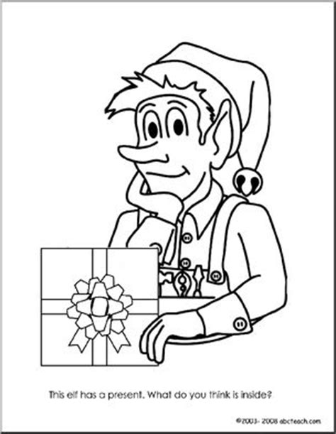 coloring page elf with present coloring page elf with present abcteach