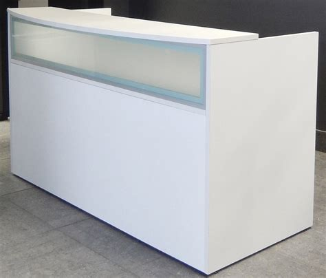 modern white reception desk rectangular white reception desk w frosted glass panel