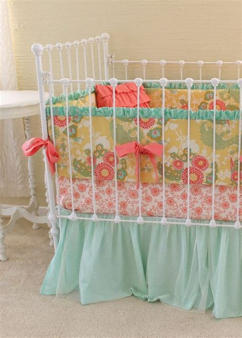 mint and coral bedding coral mint gold crib bedding coral baby bedding baby