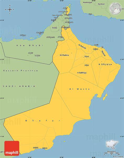 oman on map savanna style simple map of oman