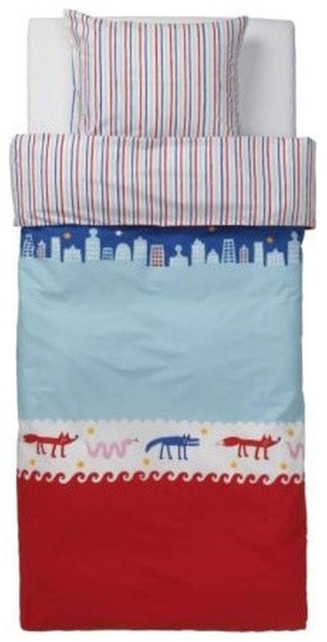 ikea red and white bedding ikea barnslig nattliv duvet cover pillowcase set blue stripes animals htf