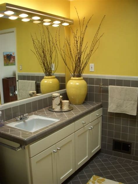 mid century yellow and gray bathroom home